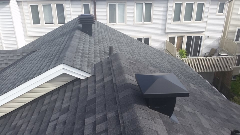 absolutley stunning black shingle roof as seen from the roof - A1 Pro Roofing Ottawa Kanata Orleans